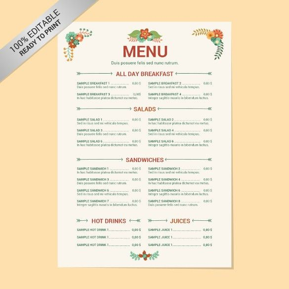 20+ Free Menu Templates – Free Sample, Example Format Download ...