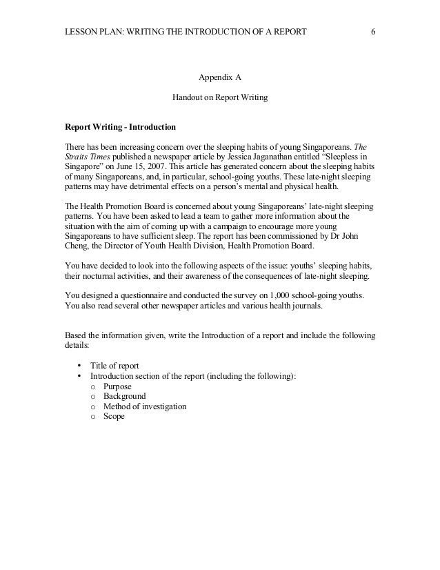 Lesson Plan - Report Writing