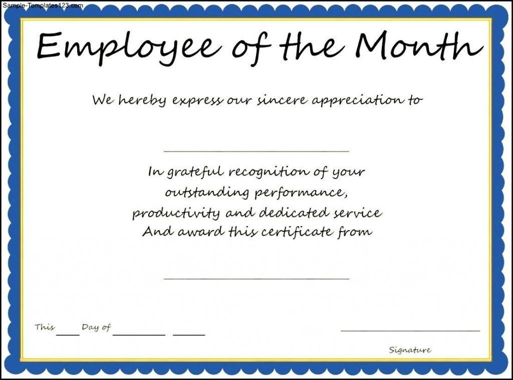 Award Templates Employee Of The Month Certificate Template Sample .