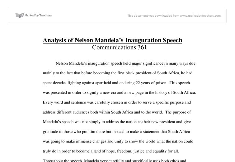 Analysis of Nelson Mandela's Inauguration Speech - University ...