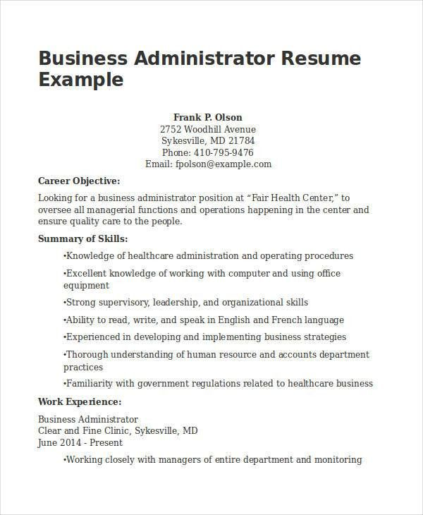 22+ Business Resume Templates Free Word, PDF Documents Download ...
