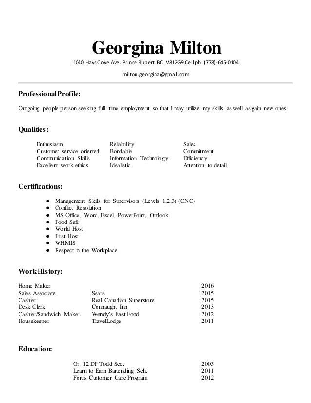 Georgina Milton Resume