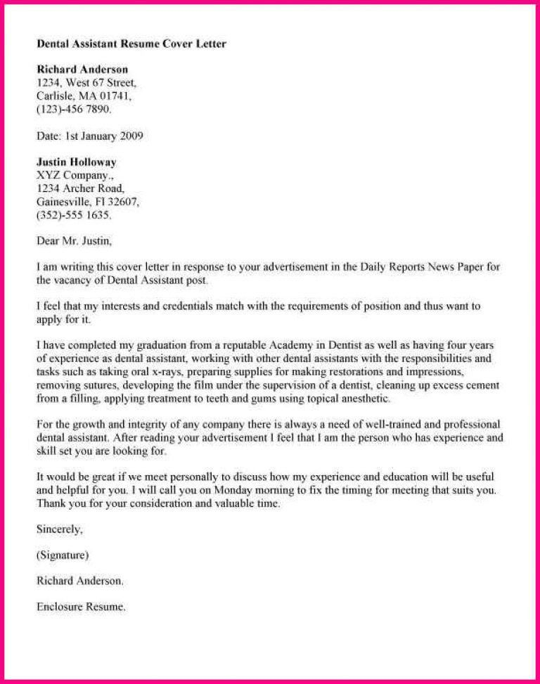 Cover Letter For Dental Assistant. 7+ Dental Assistant Cover ...