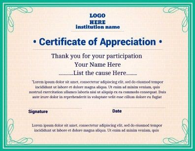 Certificate of Appreciation implementing a bold and fresh design ...