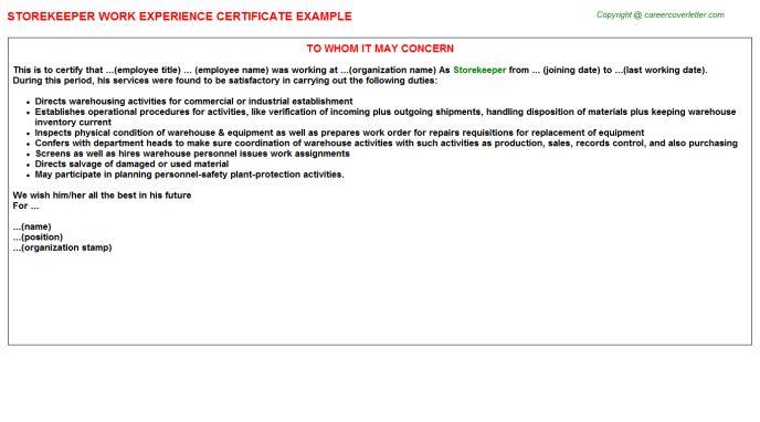 Storekeeper Work Experience Certificate