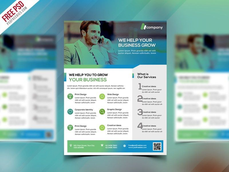 Clean Business Flyer Template Free PSD | PSDFreebies.com