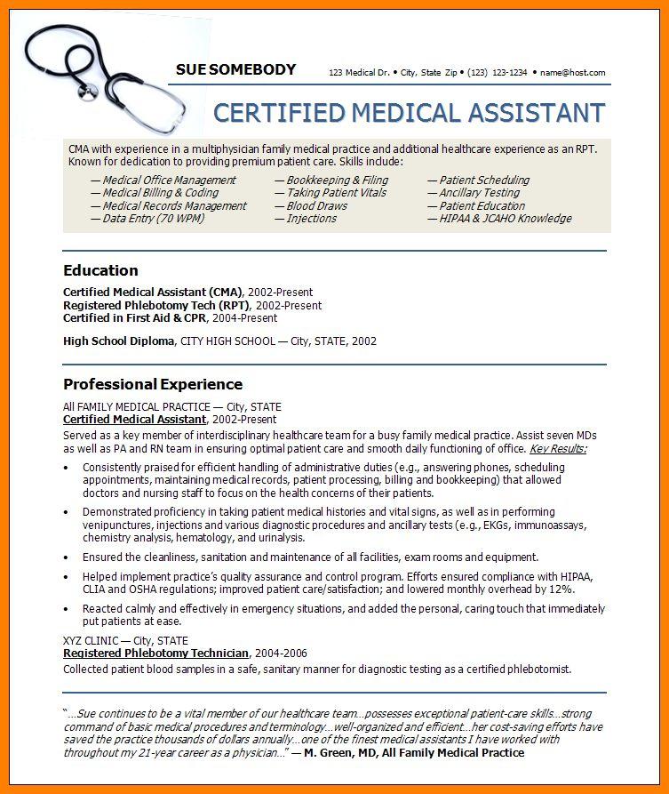 Resume for medical assistant sample