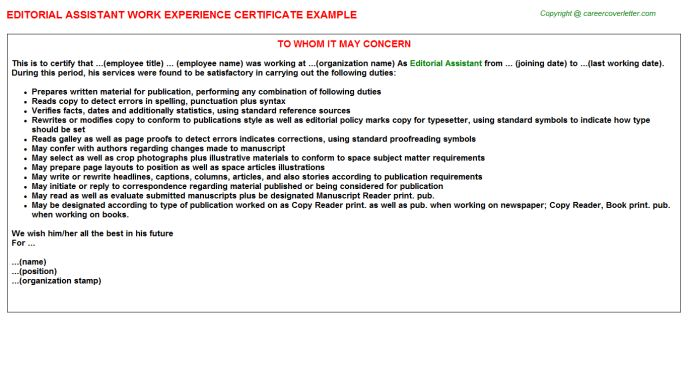 Editorial Assistant Work Experience Certificate