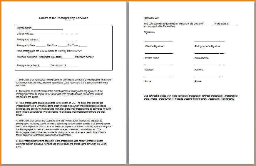 6+ photography contract template | writable calendar