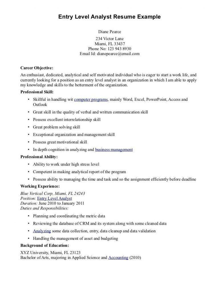 Extraordinary Idea Resume Objective Entry Level 8 Resume Objective ...