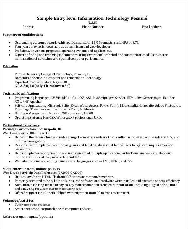 IT Resume Format Template - 7+ Free Word, PDF Format Download ...