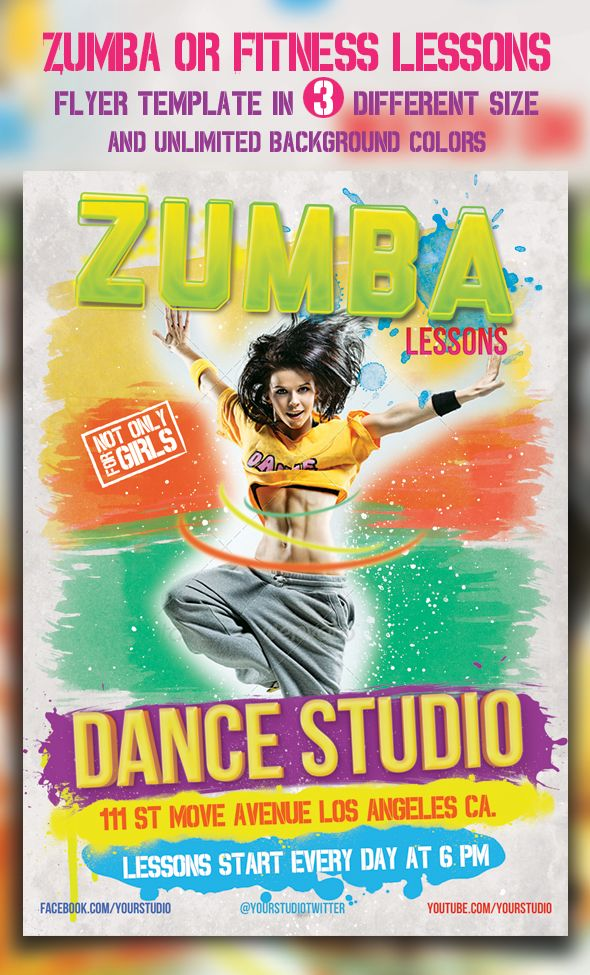 Zumba Or Fitness Lessons Flyer Templates by majkolthemez on DeviantArt