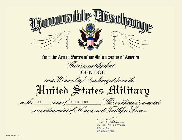 United States Army US Army Honorable Discharge Certificate Frame ...