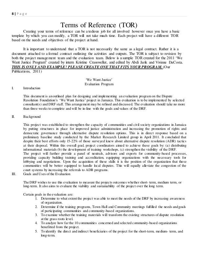 Terms of reference sample sample terms of reference for drf monitoring and evaluation design guide 1 pronofoot35fo Choice Image