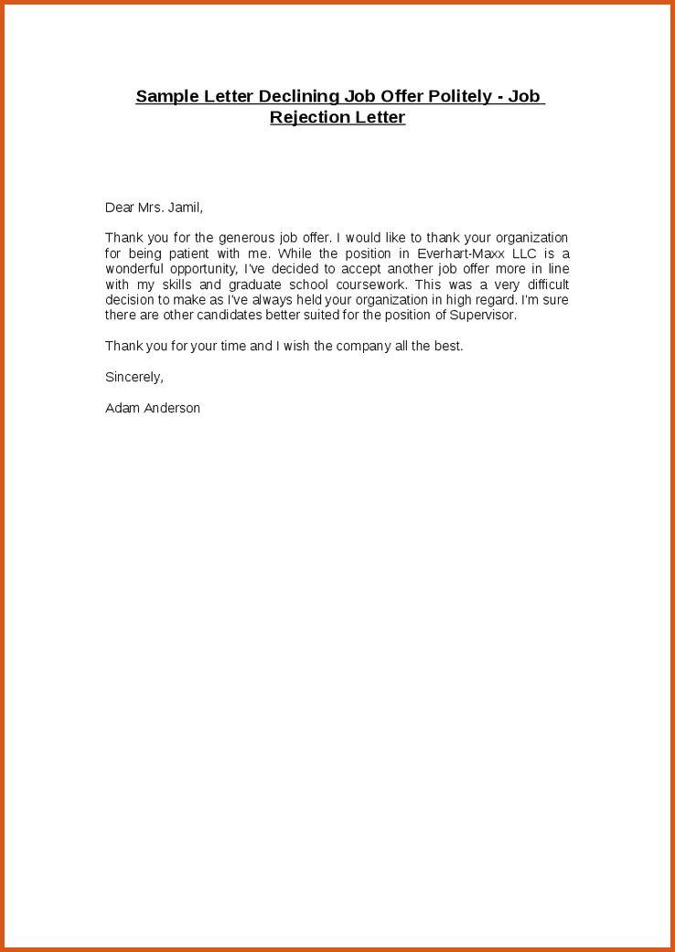 decline job offer letter | general resumes