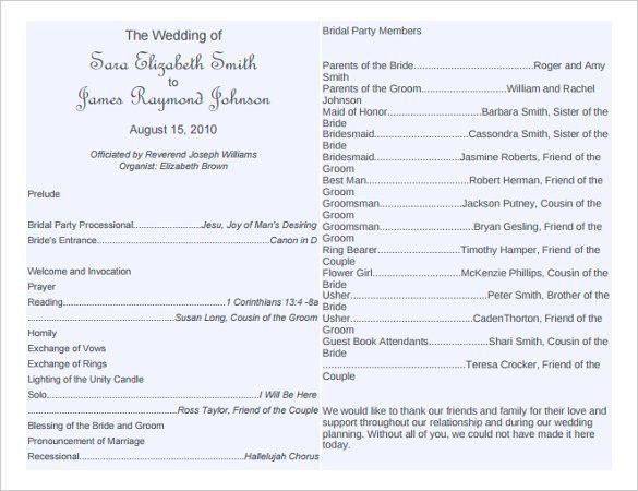 Free Printable Wedding Program Templates | Best Template Examples