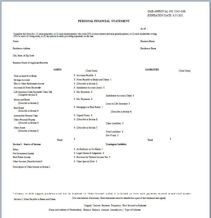 40+ Personal Financial Statement Templates & Forms - Template Lab