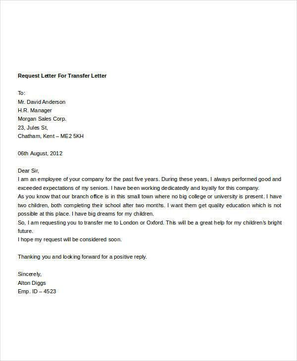 Employee Transfer Letter Template - 8+ Free Word Format Download ...