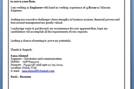 For Job Application Cover Letter Format For Freshers ...