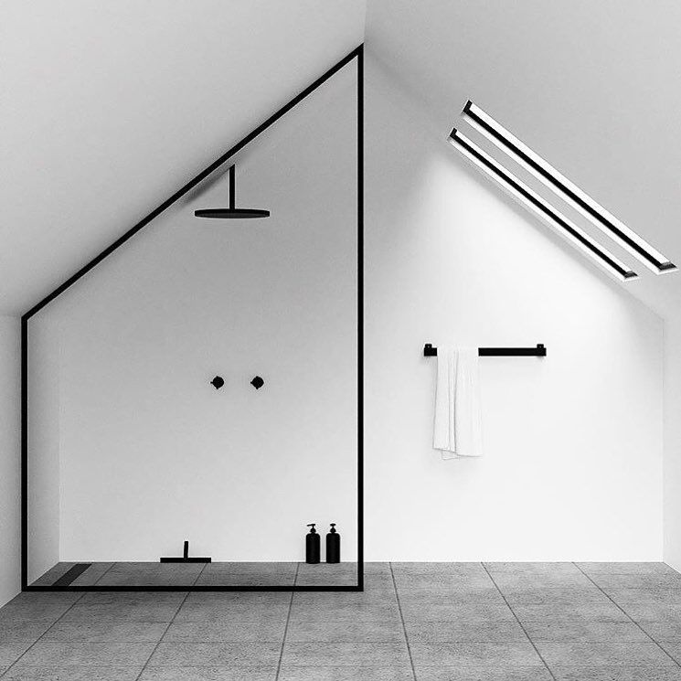 • @nichba_design coming up with the most inspiring minimalist bathroom concepts. Move over squared off shower frames, we are going to