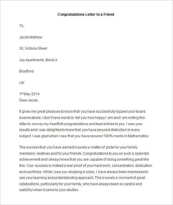 Letter To Friend Sample | About Letter Format