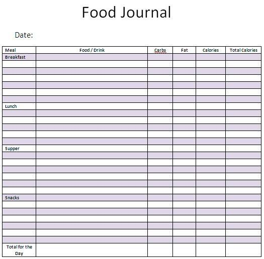 Food Journal Template. 9 Best Images Of Food And Exercise Journal ...