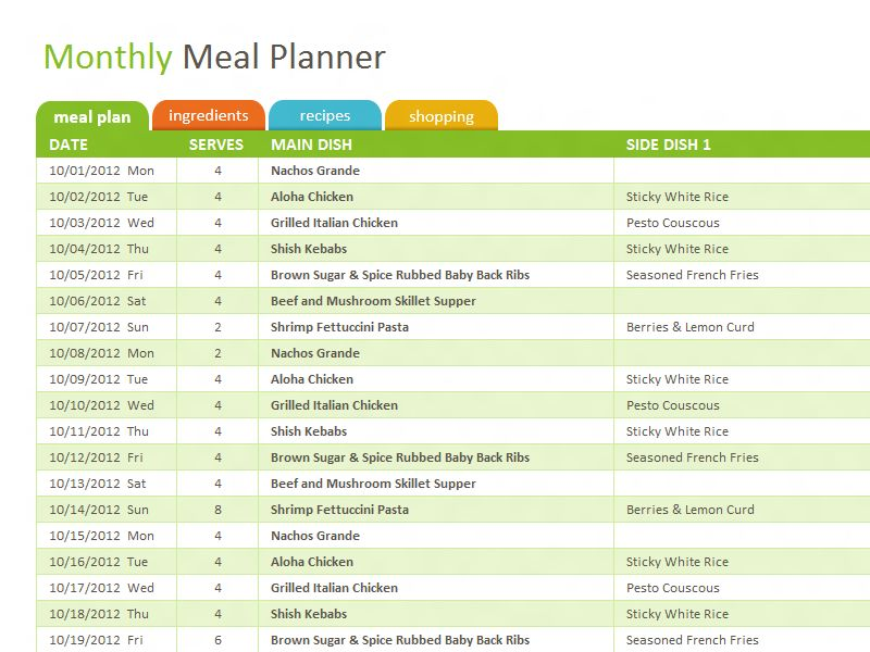 Monthly family meal planner - Office Templates