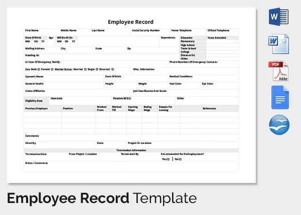Employee Record Templates -32+ Free Word, PDF Documents Download ...
