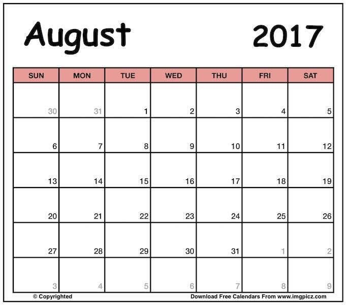 Printable August 2017 Calendar Template Word, Excel | Editable Sheet