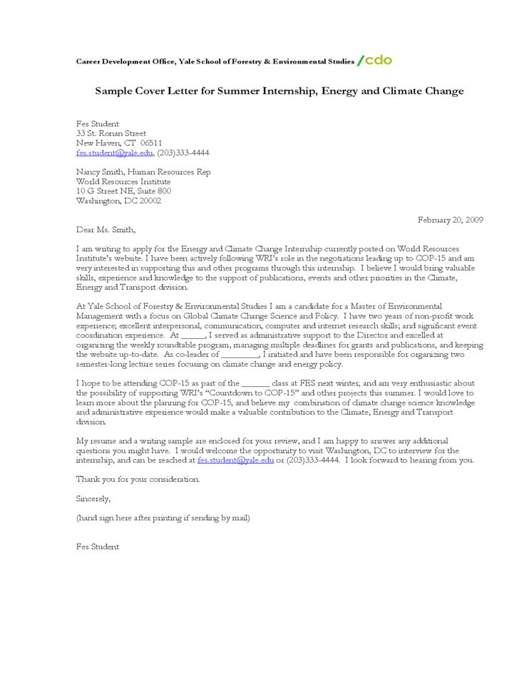 Sample Cover Letter for Summer Internship, Energy and Climate ...
