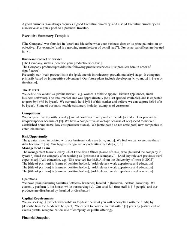 Template Of Synopsis Sample Executive Summary Template Business ...