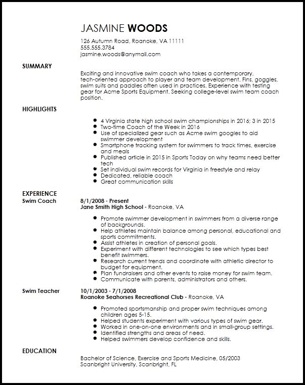 Free Contemporary Sports Coach Resume Template | ResumeNow