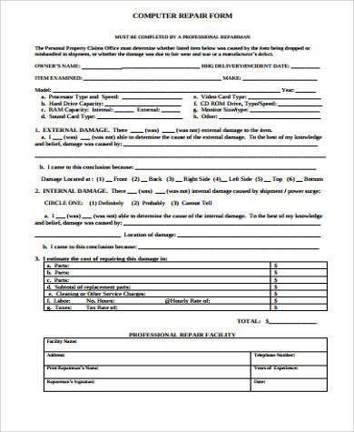 Sample Repair Estimate Form - 7+ Examples in Word, PDF