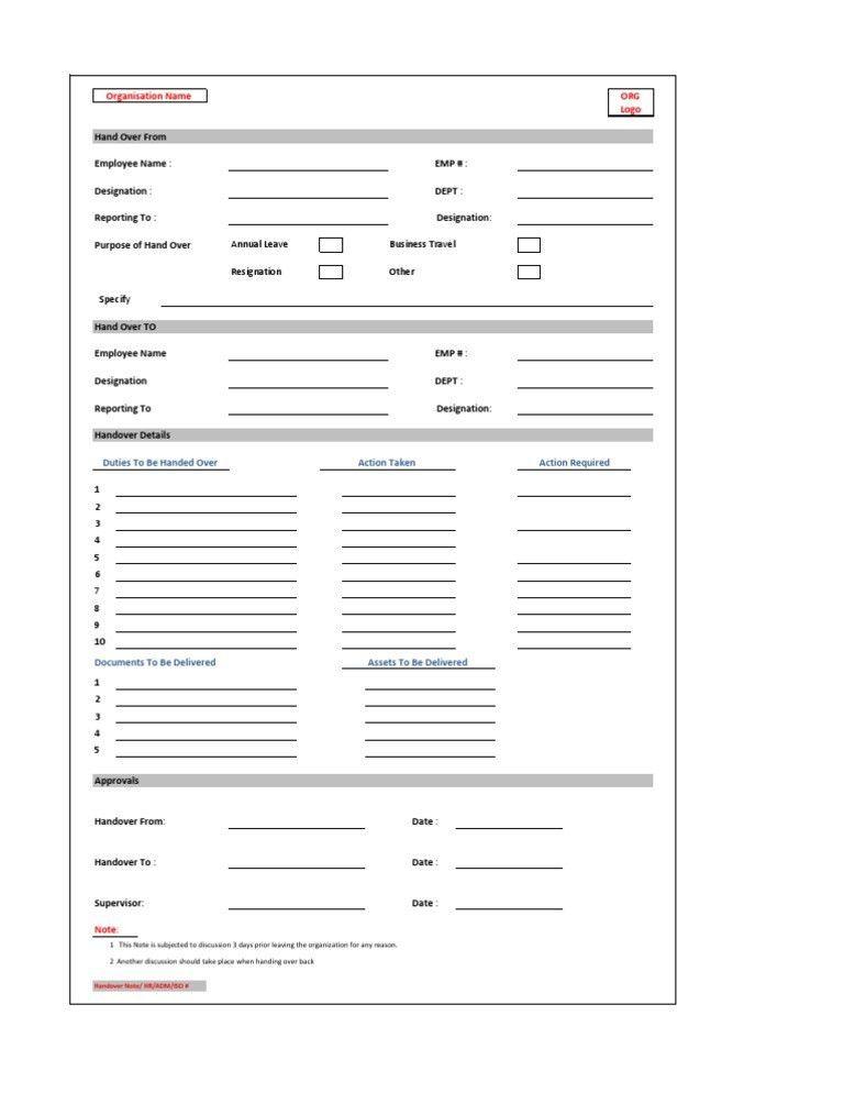Handover Note. Staffsshowbizidnotreceived; 3 29 Handover Mod Hr ...