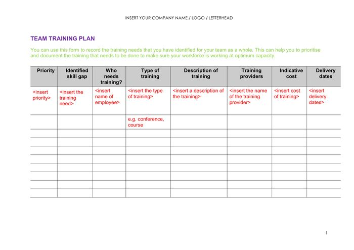Training Plan Template - download free documents for PDF, Word and ...