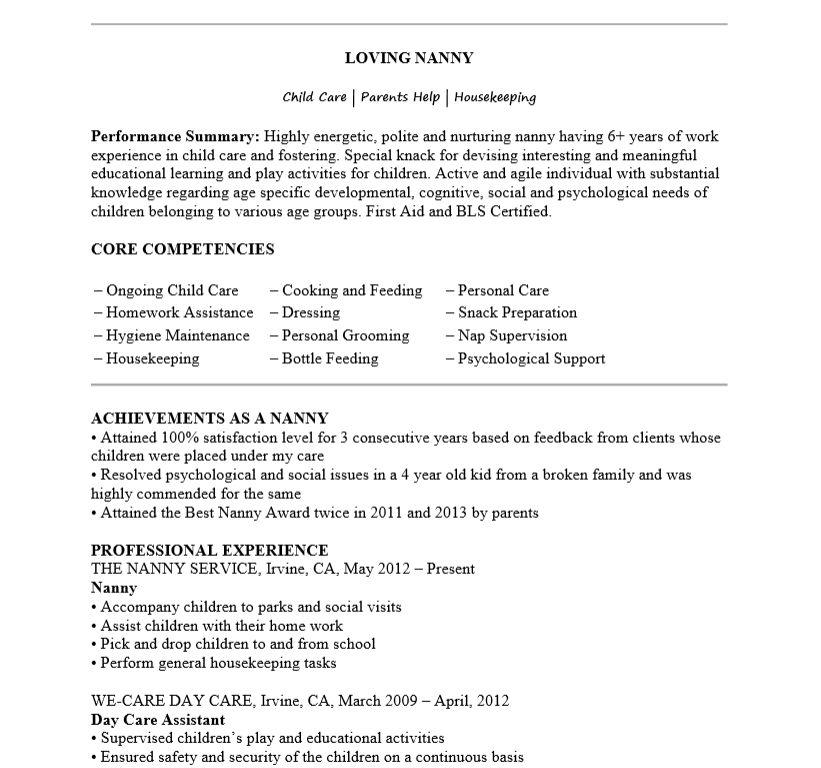 Dazzling Ideas Nanny Resume Template 16 Free - CV Resume Ideas