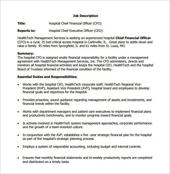 10+ Chief Financial Officer Job Description Templates – Free ...