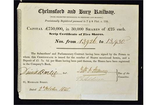 Great Britain Share Certificate Chelmsford and Bury Railway 1845 ...