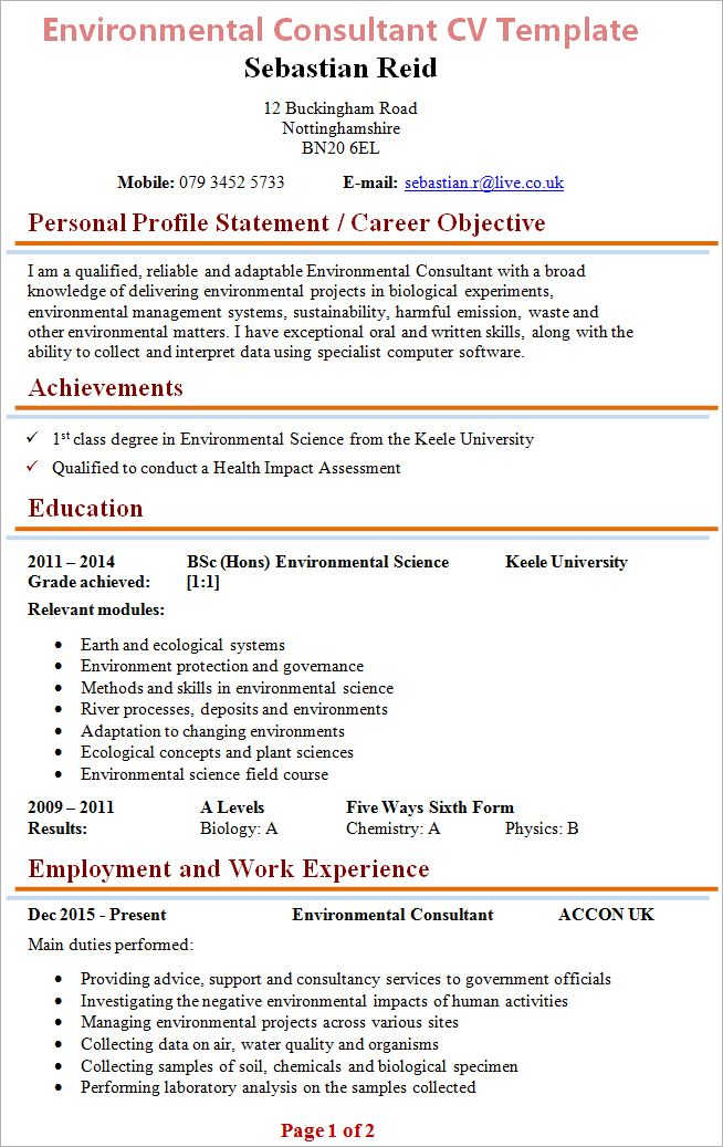 sample personal protection consultant resume