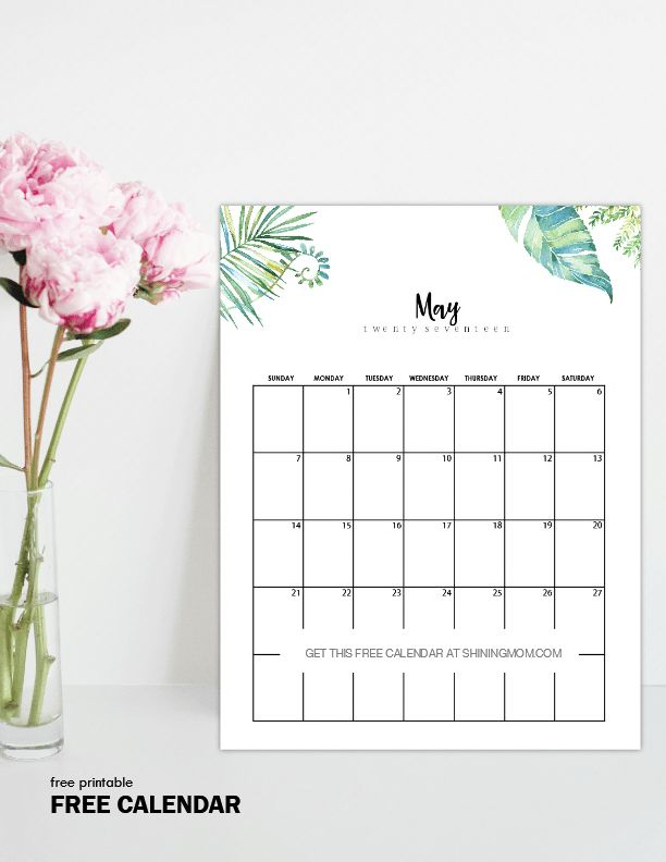 Free Printable May 2017 Calendars: 12 Awesome Designs!