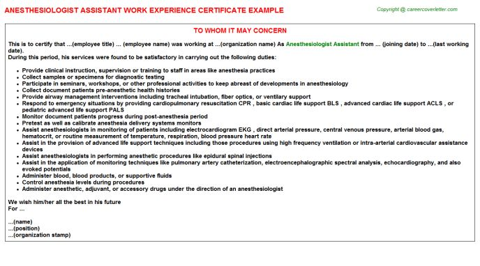 Anesthesiologist Assistant Work Experience Certificate