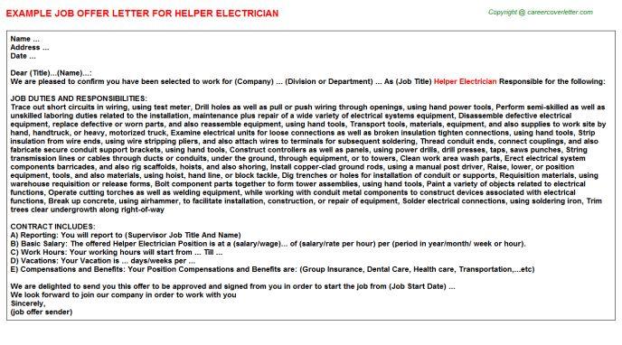 Helper Electrician Job Title Docs