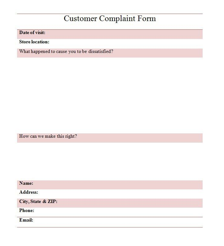 Customer Complaints Form Template Customer Complaint Form Template