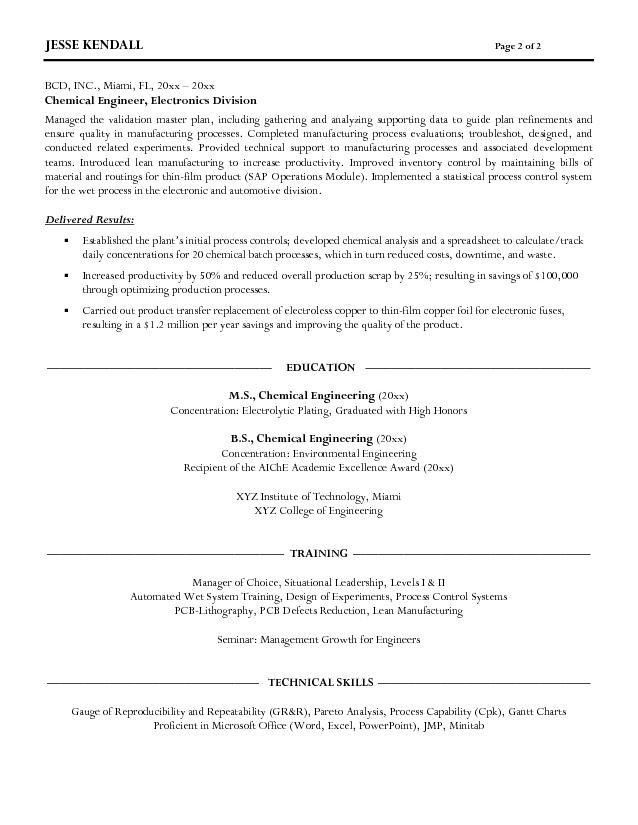 Free Chemical Engineer Resume Example