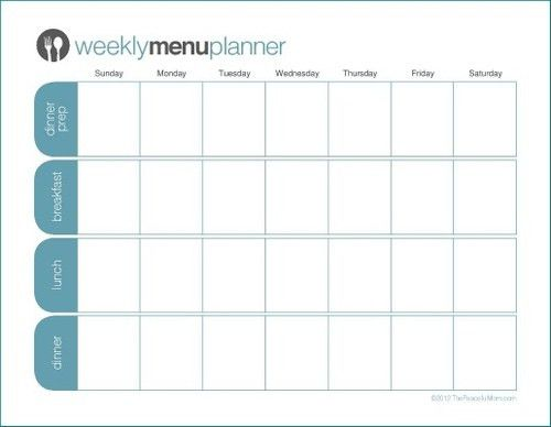 monthly food calendar template