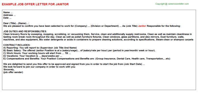 Janitor Offer Letter