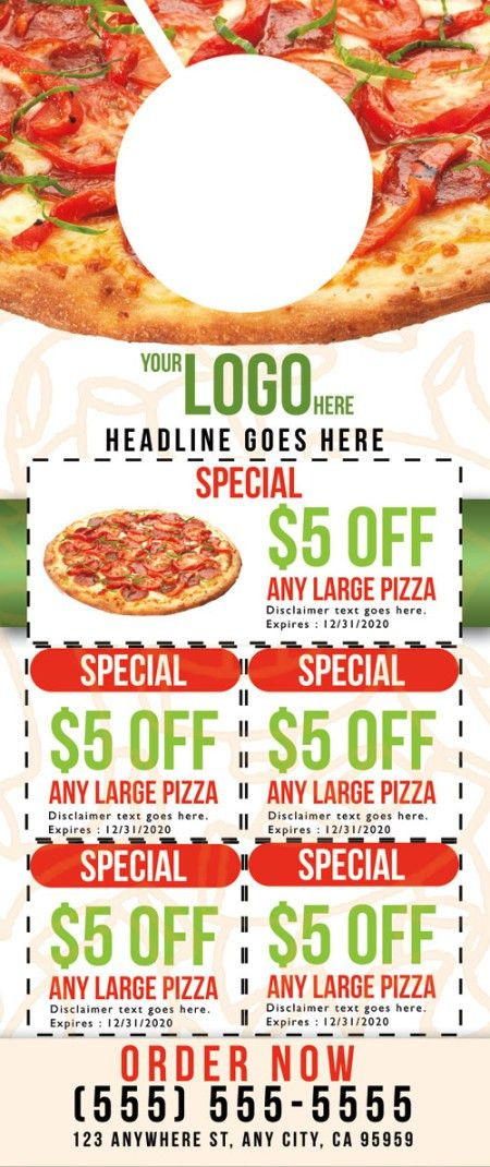 Pizza Door Hanger Template 02 - Business Cards Flyers and Banners