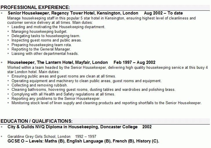 Housekeeping Resume. Housekeeping Resume Examples Objective ...