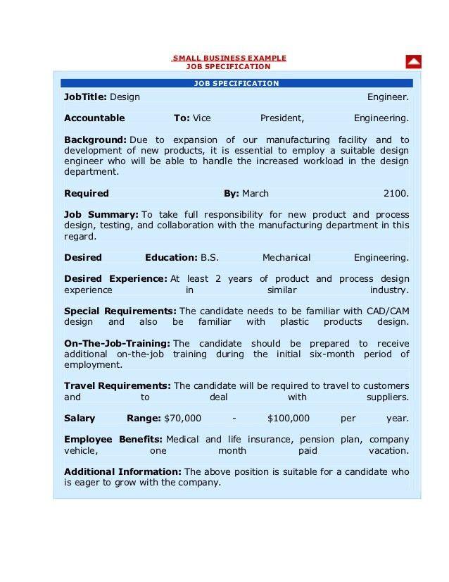 Job description & specificarion