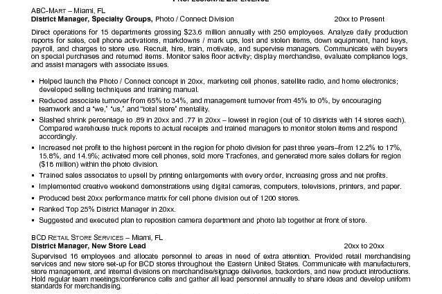 Sample Resume Retail Store Manager Retail Store Manager Resume ...